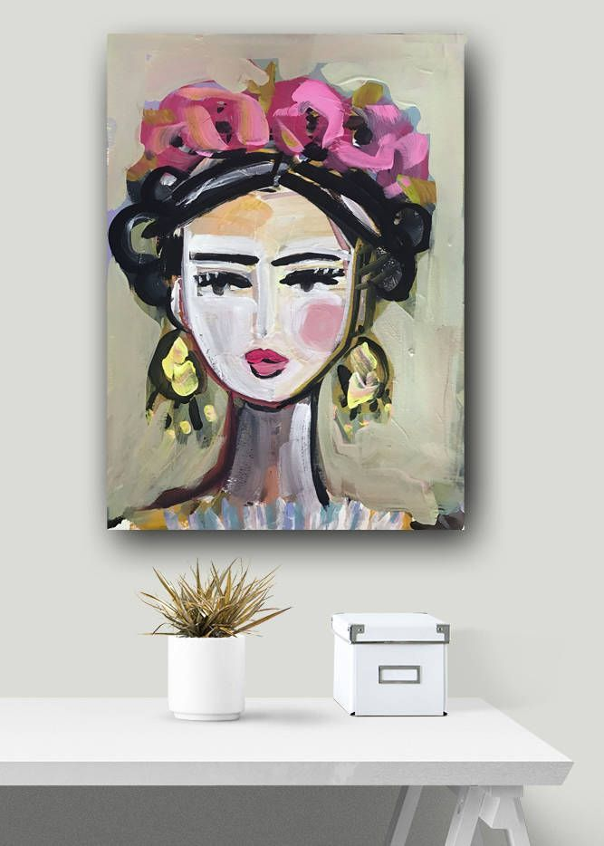 Frida Portrait, Frida Print, abstract, paper or canvas – Con Stanze