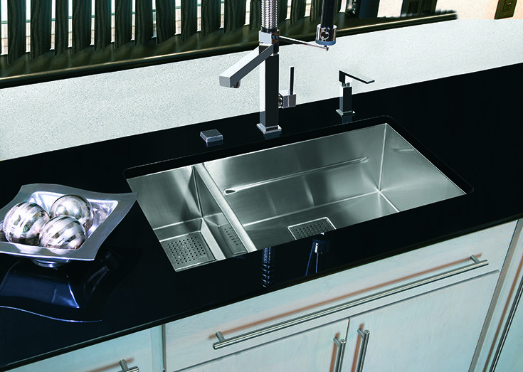 Black + white + silver = modern design in this Franke kitchen.