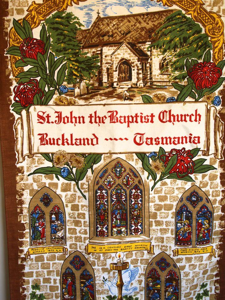 St John the Baptist Church Buckland Tasmania Linen Cotton Tea Towel - Vintage Religion Souvenir Unused Tea Towel - New Old Stock by FunkyKoala on Etsy