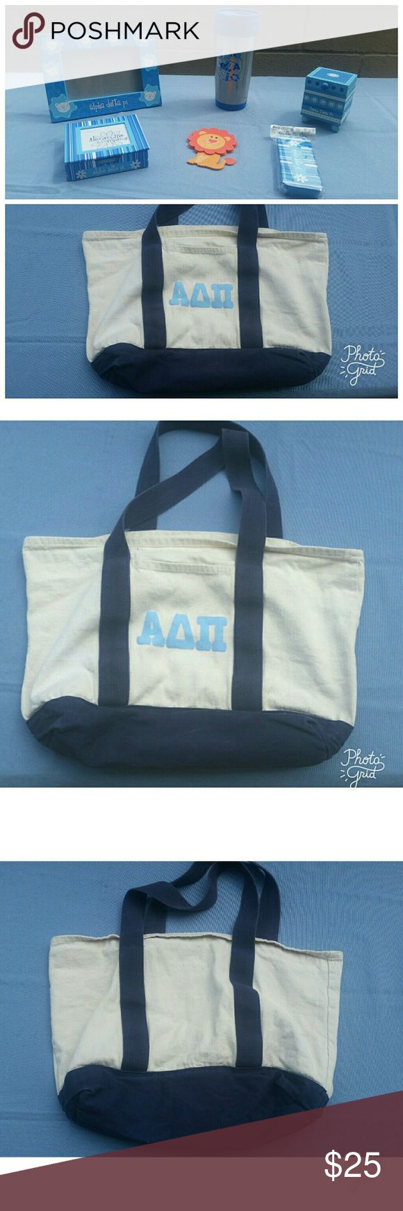 ADPi Bundle ADPi 6 pc bundle.  Perfect gift for yourself, a new little, or any ADPI in your life! All items either new or gently used.   Canvas Bag- has 2 pockets. Gently used, good condition.   On the go tin- new in plastic  Pin box- gently used, like new condition.  Frame- gently used, excellent condition.   Coffee cup- gently used, small blemish can be seen in picture. Only sign of use.  Post-it note holder/picture frame- NWOT.  Selling as a bundle. Reasonable offers accepted. ADPI Bags…