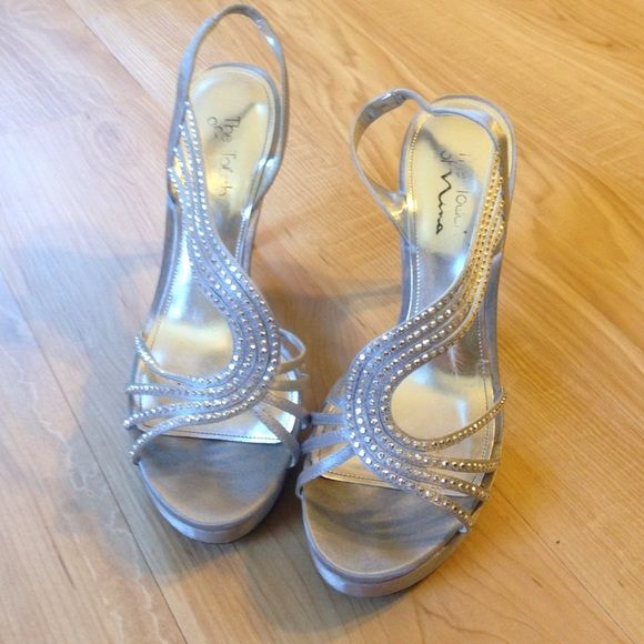 SILVER SPARKLY HEELS Worn for a prom once, side picture shown with reference to see how tall they are Shoes Heels