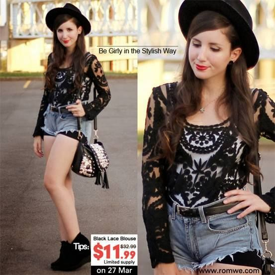 Girly or sexy? Edgy or elegant? Vintage or chic? You'll decide >> http://www.romwe.com/romwe-hollowout-lace-crochet-black-blouse-p-66057.html Here is an inner coupon for you, my lovely fans: 10offblacklace It'll help you save 67% in total :)