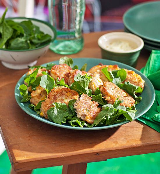 Sweetcorn and tuna fritters with herbed aioli recipe - Better Homes and Gardens - Yahoo!7