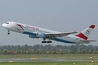 Austrian Airlines Boeing 767-3Z9(ER) OE-LAW aircraft, named ''Ayrton Senna'' in 1992 & ''China'' from 2005 up today'', landing at Austria Vienna Schwechat International Airport. 11/10/2005.