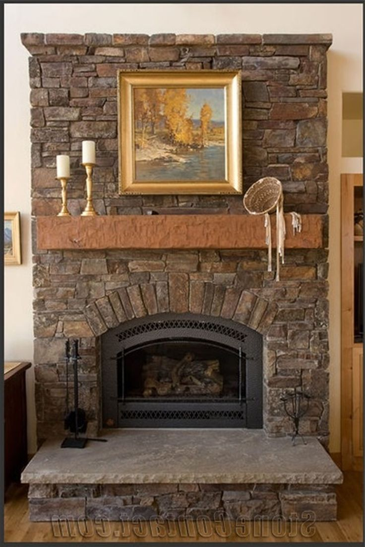 Living room rustic classic stone fire place decorations - Rockabilly mantel ...