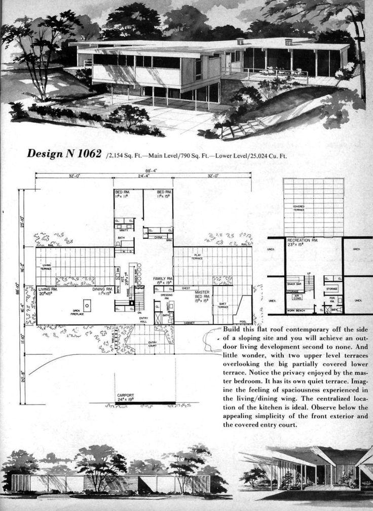 17 best ideas about modern house floor plans on pinterest for Mid century modern blueprints