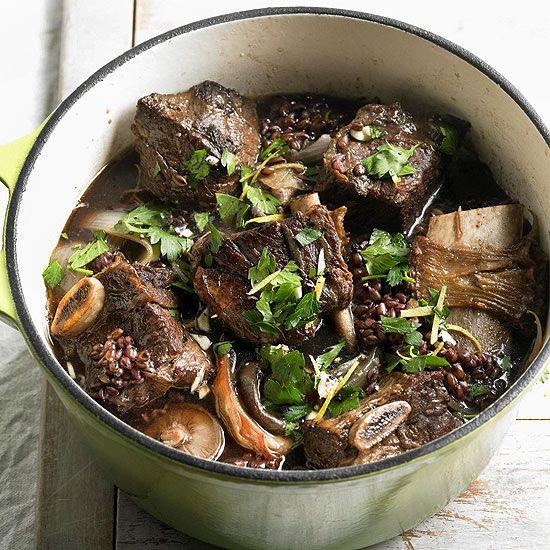 Short Ribs with Black Barley and Mushrooms