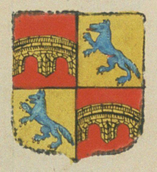 Louis DE PONTEVÈS, marquis de Buoux, lieutenant du roy, en Provence, gouverneur de la ville d'Apt. Porte : écartelé : au 1er et 4e : de gueules, à un pont de deux arches, d'or, massonnée de sable ; au 2e et 3e : d'or, à un loup ravissant d'azur, lampassé, armé et vilainé de gueules | N° 40