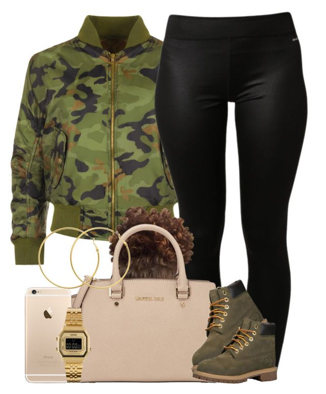 """Camouflage."" by livelifefreelyy ❤ liked on Polyvore featuring WearAll, adidas, MICHAEL Michael Kors, Timberland, Casio, Melissa Odabash and plus size clothing"