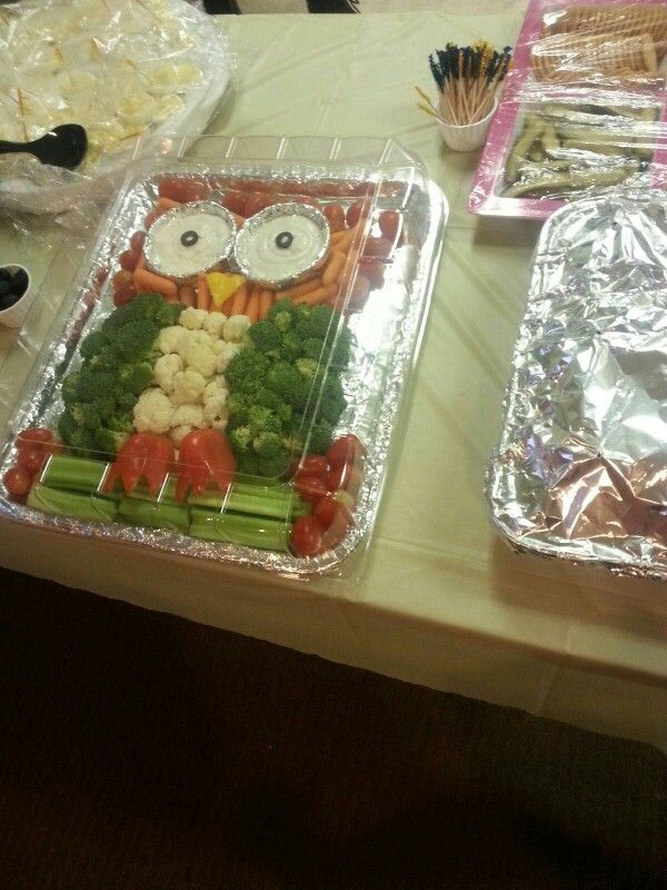 Owl veggie tray....the hit of the owl themed baby shower