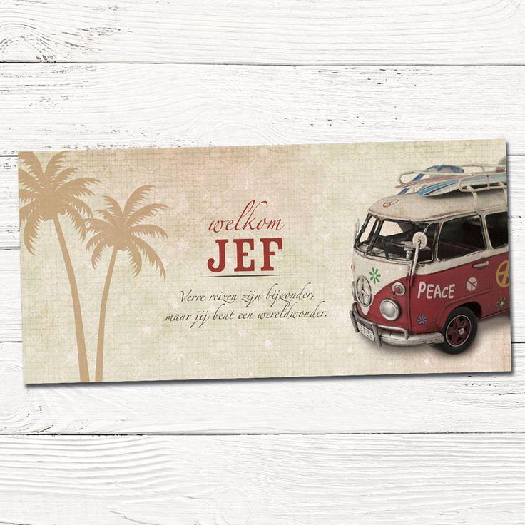 Retro geboortekaartje met VW busje en surfplank   palmbomen   surfen   design op maat  babykaartjes   foto   indie   vintage