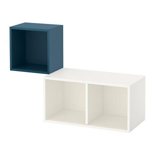 IKEA - EKET, Combinação armário parede, azul escuro/branco, , Uma solução de arrumação assimétrica que se torna personalizada com os seus itens pessoais.