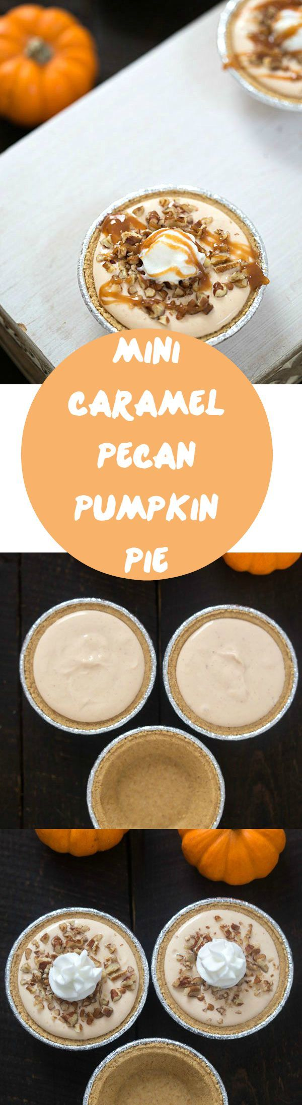Mini Caramel Pecan Pumpkin Pie - Incredibly easy no-bake dessert made with only five ingredients! #ad #EffortlessPies @realreddiwip @dannonoikos