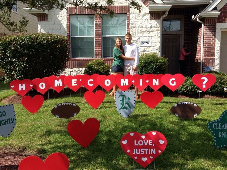 homecoming proposal with awesome red heart lawn letters by wwwflamingos2gocom