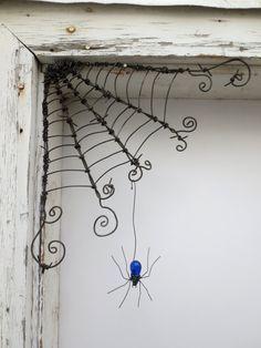 "Dangles tchécoslovaque Spider bleu de 12"" fil de fer barbelé coin araignée"