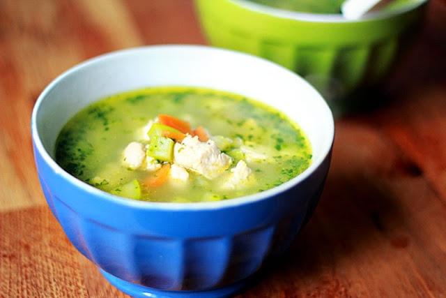 Supa de pui cu orez si spanac