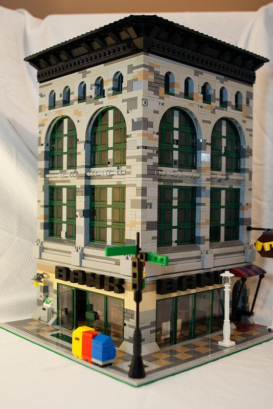 "Custom bank building in Lego ""Main Street style"". Admired..."