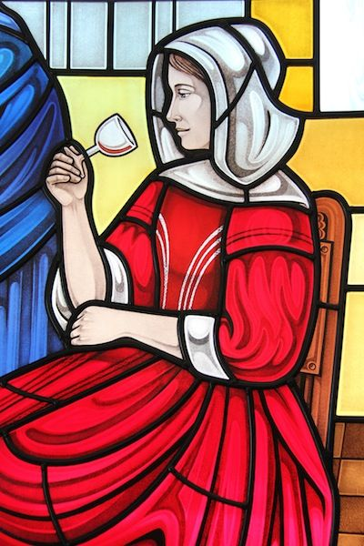 "Detail of our Vermeer ""red girl"" http://www.gilroystainedglass.com/gilroy/2013/08/vermeer-window-completed/"