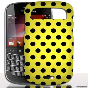 Coque BlackBerry Bold 9900 Jaune Pois Noirs | Coque de protection arriere. #Jaune #Pois #Coque #BlackBerry #9900