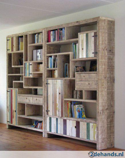 Steigerhouten kast boekenkast steigerhout wandmeubel for Boekenkast steigerhout