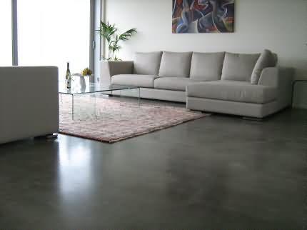 Polished Concrete Floor In Basement With Lighter