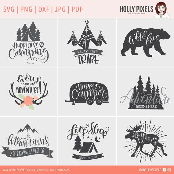 Camping SVG bestanden bundel met familie citaten