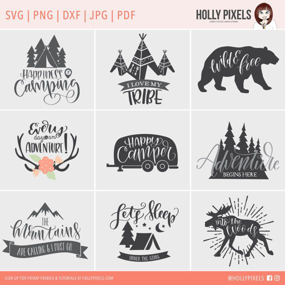 Camping SVG Files Bundle with Family Quotes by HollyPixels on Etsy Save money and get these super adorable camping SVG files in a bundle featuring hip and cute artwork and hand lettering. These designs feature family quotes and more. You're saving when you purchase this as a bundle, so if you're looking to offer lots of designs for your clients on shirts, mugs, and more, this is an incredible value!