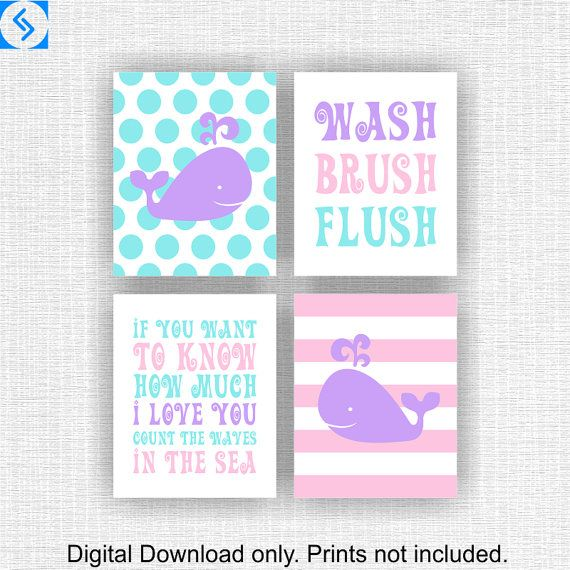 Whale bathroom Nursery Printable Wash Brush by myfavoritedecor