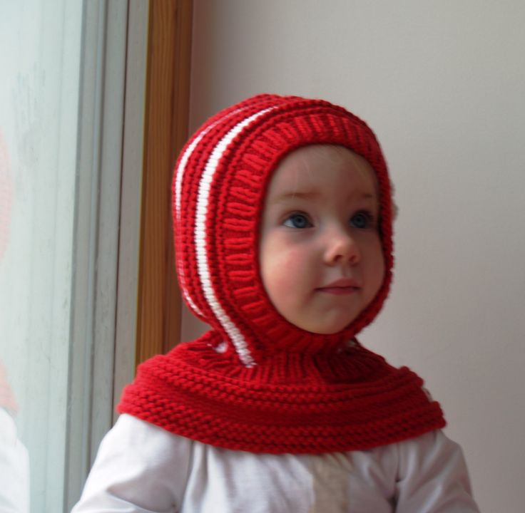 Winter and snow hat. Hand knitted hoodie hat for baby girl. Made from white and red 100% merino wool. Soft and very functional - perfect to keep the little ones warm and cozy during cold days         Size: 6-12 Months  1-3 Years 3-6 Years  6-8 Years           Price: 39$