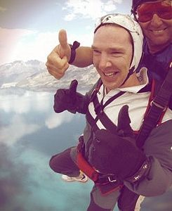 """""""Benedict Cumberbatch skydiving?  What has this man not succeeded at?!?!"""" - Apparently, drawing dragons and having kids.  I'm hoping the latter will change very soon.  But seriously, how is he so fantastic?!  God, how did you manage to fit so much 'awesome' into one person?? :D"""