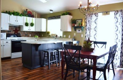 cute brick backsplash: Beads Boards, Brick, Beadboard, New Kitchens, White Cupboards, Kitchens Makeovers, White Cabinets, Red Tables, Kitchens Cabinets