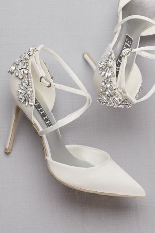 af9329b4d363 Pointed-Toe Cross-Strap Heels with Crystal Back