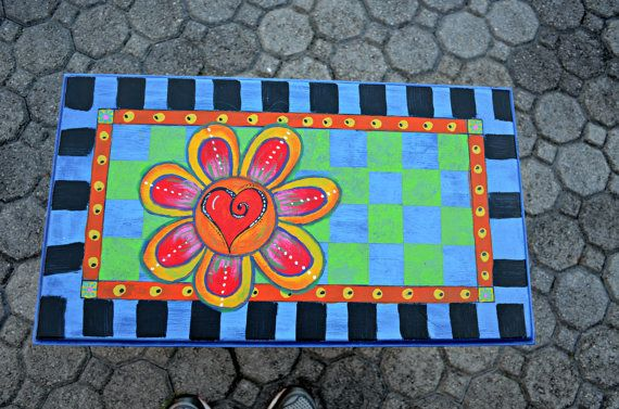 Funky Painted Bench by WithBothHands on Etsy, $75.00