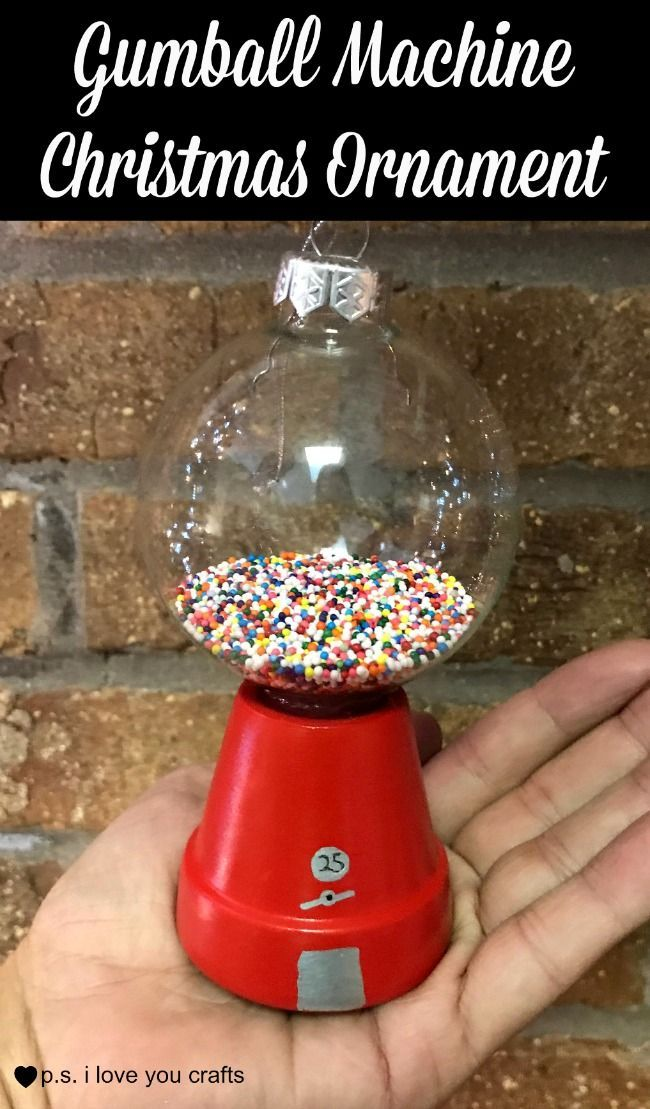 Make a Gumball Machine Christmas ornament using a flower pot, glass ball, red paint, sprinkles, and glue. #christmas #christmasornaments #diychristmas #handmadechristmasornament