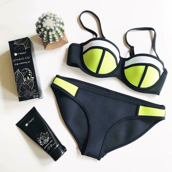 """Rock that bikini, our favorite summer accessory, with confidence today and everyday! Our second favorite summer accessory—Defining Gel—lather up in your """"liquid gold"""" and catch some rays !"""