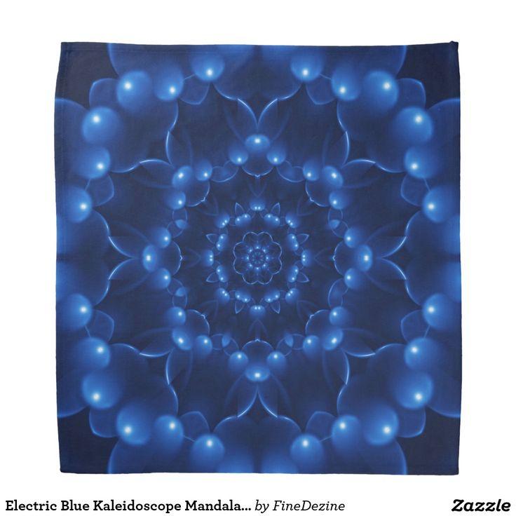 Electric Blue Kaleidoscope Mandala Bandana