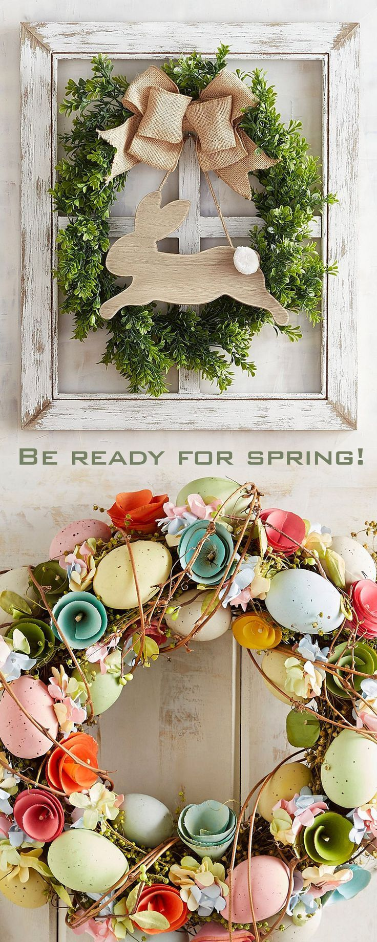 Adorable spring and Easter wall art and wreaths add life to your home decor or front door. #homedecor #easter #spring #wallart #wreaths #frontdoor #ad