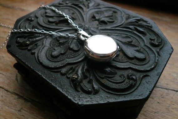 Silver Locket Necklace in Sterling Silver Sterling by roundabout, $37.00