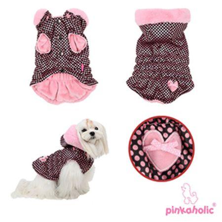 #chaleco de topos con capucha para #perro. Súper cómodos para el invierno y los días de lluvia. Disponibles en rosa y en negro. Elige tu talla en el siguiente enlace: http://www.dogsaffaire.com/ropa-para-perro/chaleco-topos-con-capucha-1215.html?search_query=chaleco+&results=5