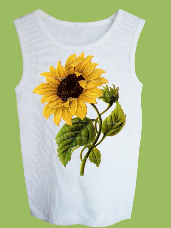 Sunflower Tshirt Vintage Botanicals yellow by ChiTownBoutique