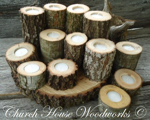 12  Rustic Candle Holders, Tree Branch Candle Holders, Rustic Wedding Centerpieces, Wood Candle Centerpieces by ChurchHouseWoodworks on Etsy https://www.etsy.com/listing/163388606/12-rustic-candle-holders-tree-branch