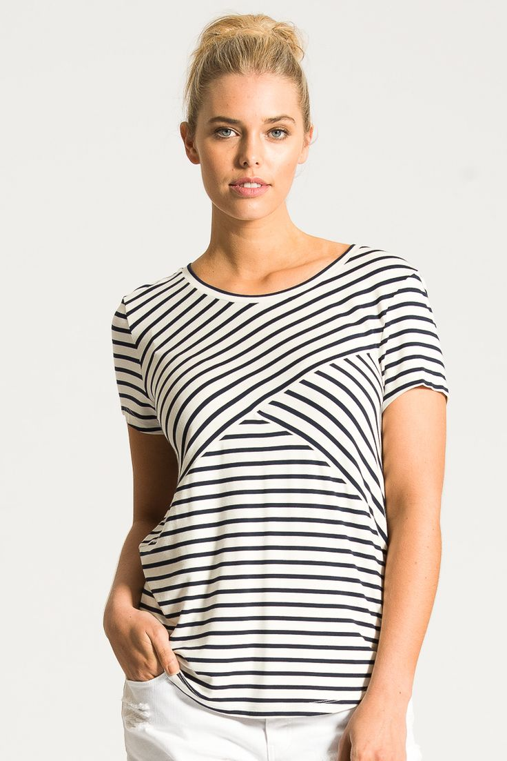 Contrast Striped Top in Navy from Bohemian Traders $39.50AUD (SALE). A great work and play piece with a nod to French chic. Ohh-la-lah!