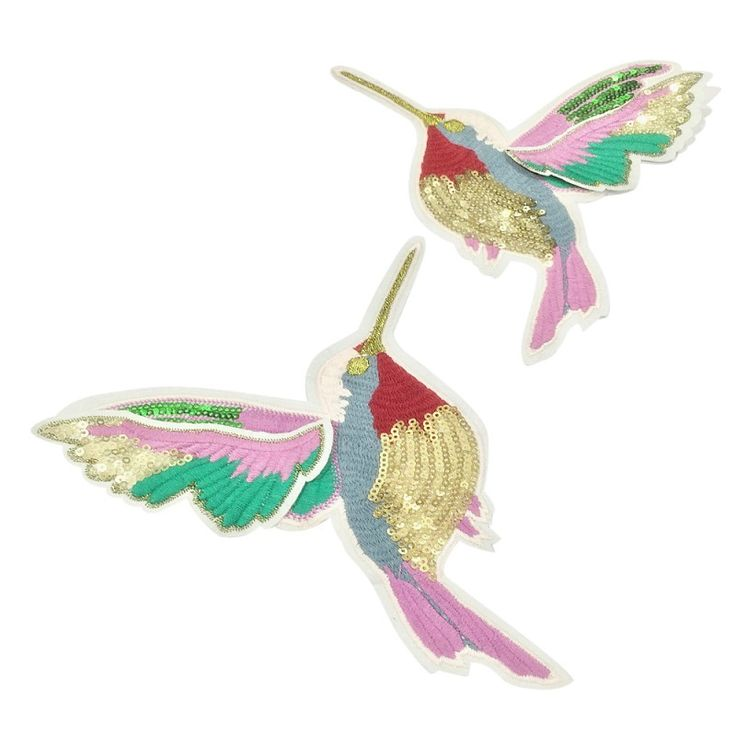 1 Pair Sale Useful 18x14.5cm Birds Patch Embroidery sew On Patches For Clothes Dresses DIY Accessory with high quality #Affiliate