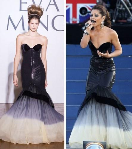 Cheryl Cole seen wearing Eva Minge at the 2012 Diamond Jubilee concert.