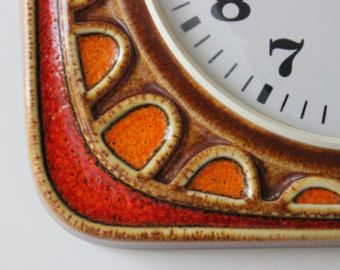 Vintage Emes Küchenuhr 70er Jahre Uhr Quartz Uhrwerk Keramik Orange Braun Fat lava Wanduhr Germany -    Artikel bearbeiten  - Etsy