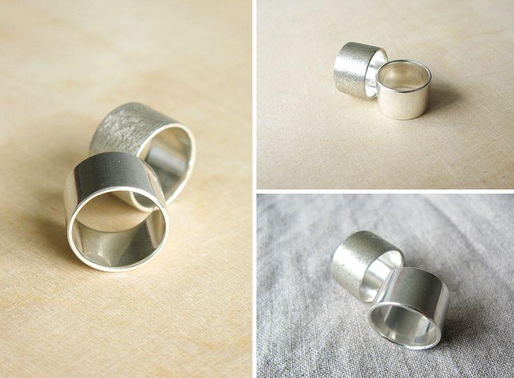 Srebrne obrączki, szerokie, srebro, połysk i mat, minimalizm yuvel.pl / Silver rings, silver bands, simple, modern yuvel.pl