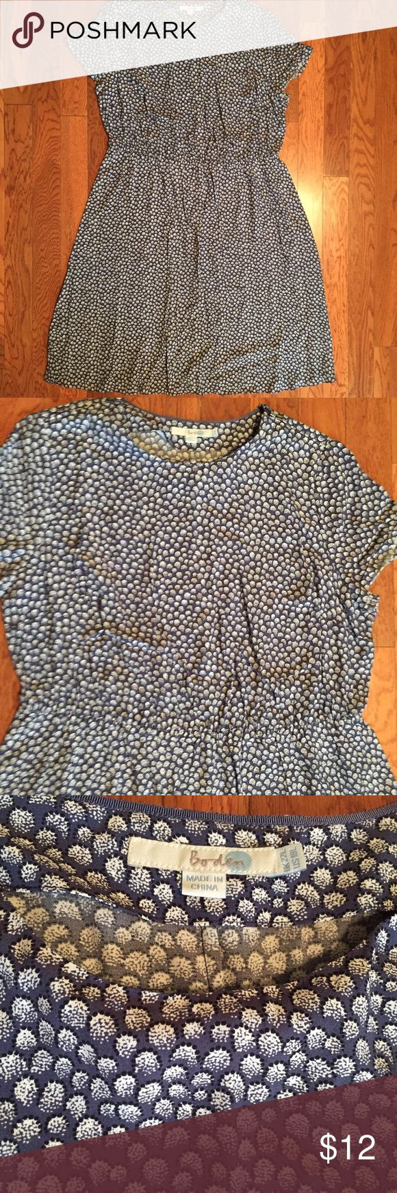 "Boden Dress Boden cap sleeve flowy, light weight dress. Slate blue with white and navy ""puff"" print detail. Zippers on both shoulders. Measures 46 1/2"" from shoulder to bottom hem. Size 18L. Boden Dresses"