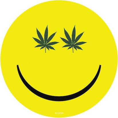 Hemp Leaf Smiley Face - Sticker a smiley face I can love!!!!