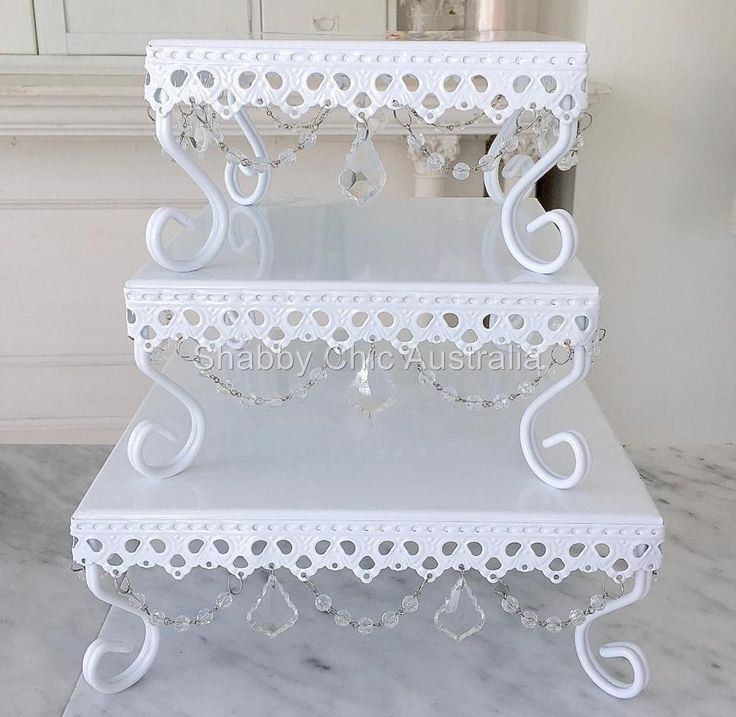 Set of 3 White Square Cupcake Wedding Decoraton Cake Christmas Display Stands