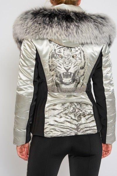 6c71582d64 Sportalm Women Eye of the Tiger Jacket with Fur - Grey